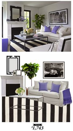 A black and white living room originally designed by Lynn Morgan Design. Recreated by @audreycdyer for only $1,743