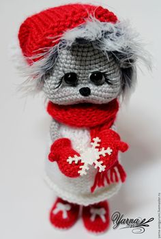 Купить Ежинка - серый, белый, красный, Ёжик, ёжики, ежик, ежики, ежик вязаный