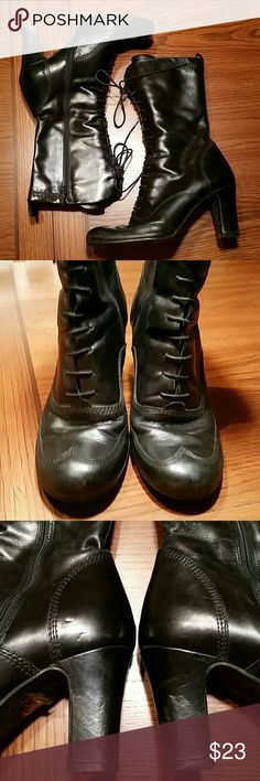 $DROP ♡♡♡ Wingtip laced boot with zide zipper Made in Poland,  Gorgeous shiny black leather with stitching in wingtip design. Gently worn still a lot of life left in them, sitting on a 3 inch heel. very comfortable and stylish in good used condition a few blemishes can be seen in photo 3 on heel, not really noticeable. Boot measures 9 inches from heel to top they look awesome with a long skirt great option for a stylish winter boot. Size runs small, they fit more like 6 or 6.5. in my…