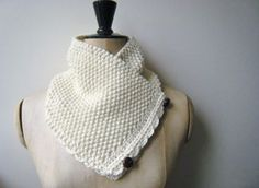Ladies Hand Knitted Chunky Moss Stitch Neckwarmer Cream Merino Cashmere Scarf £34.00