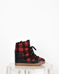 """Isabel Marant Nowles leather and wool wedge heel """"snow boot"""" sneakers Red - Isabel Marant Marant #blackFriday #christmas #gifts #lifestyle #isabelmarant #leather #boots #women #fashion"""