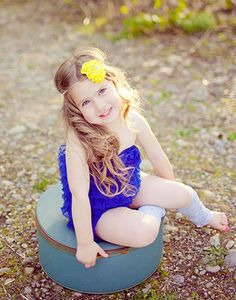 Loving the the bold blue and yellow combination! Many unique color choices of rompers available now! Toddler Outfits, Girl Outfits, Cute Babies, Baby Kids, Baby Hair Accessories, Lace Romper, Baby Boutique, Perfect Photo, Trendy Baby