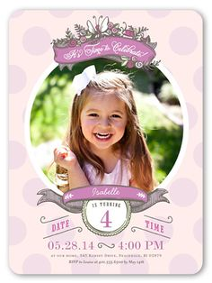 Birthday Invitations: Butterfly Frame, Rounded Corners, Purple