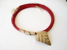 Unique Handmade Statement necklace-Hand Hammered Gold Bronze Leaf-Wax Linen Cord-Contemporary necklace-Handcrafted Jewelry-Unusual necklace