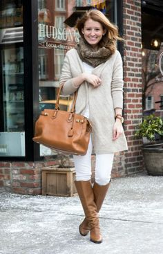 Pair your classic white ripped jeans with a oversized warm cardigan and tan boots! Such a great look with brightness in the winter months where everyone wears blacks and grays!
