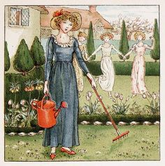 Illustration from The April Baby's book of Tunes by Kate Greenaway 1900 Plate 8 'Mary, Mary, Quite Contrary' | by CharmaineZoe's Marvelous Melange