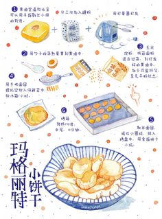 ink and wash Food Drawing, Painting & Drawing, Cute Illustration, Watercolor Illustration, Recipe Drawing, Watercolor Food, Watercolour, Pinterest Instagram, Food Sketch