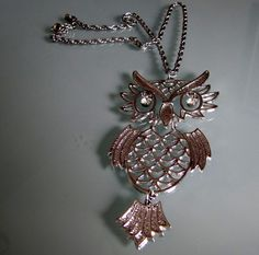 Vintage Necklace Vintage Owl Articulated Owl Necklace by tintiara, $27.00