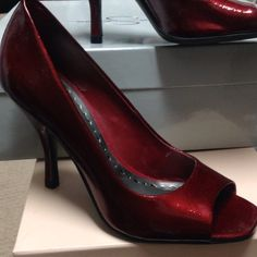 BCBG red open toe heels Beautiful red color, very comfortable BCBGirls Shoes Heels