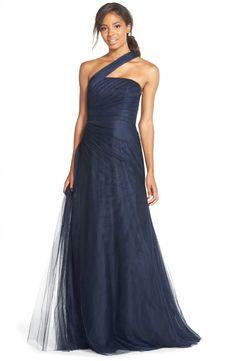 Monique LhuillierBridesmaidsOne-Shoulder Drape Tulle Gown available at #Nordstrom
