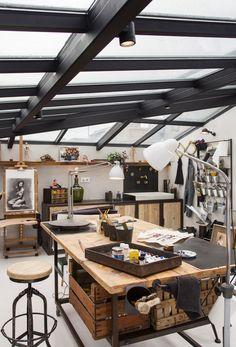 Home studio interior atelier 47 Trendy Ideas Home Art Studios, Art Studio At Home, Art Studio Spaces, Garage Art Studio, Art Studio Room, Studio Table, Art Studio Decor, Art Studio Storage, Paint Studio