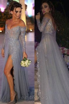Sexy Prom Dresses,A-line Off-the-shoulder Formal Dresses,Tulle Sweep Train Appliques Lace Evening Dresses,Long Sleeve Backless Party Gowns