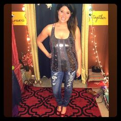 Juicy Couture sequin top!  Juicy Couture sequin top. Strappy in the back. Fits up to about a 36D bust. Flowy through the waist. It's just beautiful but a little too small for my chest. Zips up on the side. Worn once. Juicy Couture Tops Tank Tops