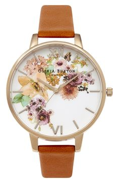Olivia Burton 'Flower Show' Leather Strap Watch, 38mm available at #Nordstrom