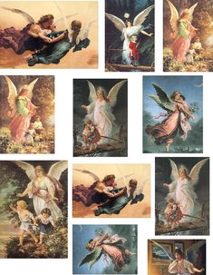 Free Printable Decoupage Papers | Decoupage Paper Angels Children Collage Sheets