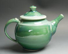 Handmade teapot stoneware jade green 4 cup tea pot 1989 by BlueParrotPots on Etsy https://www.etsy.com/listing/212469649/handmade-teapot-stoneware-jade-green-4