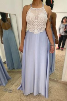 Ivory Unlined Re-embroidery Bodice Halter Neckline Lilac Chiffon Skirt Bridesmaid Dresses Lilac Prom Dresses, Split Prom Dresses, Blue Homecoming Dresses, Princess Prom Dresses, Best Prom Dresses, Beautiful Prom Dresses, Mermaid Prom Dresses, Bridesmaid Dresses, Junior Dresses