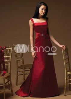 Spaghetti Satin Evening Dress