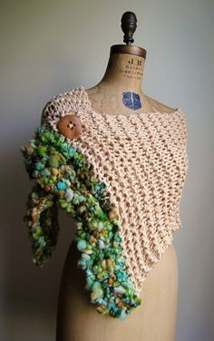 Bohemian Love Organic Cotton knit shawl Tan. Green. by Happiknits