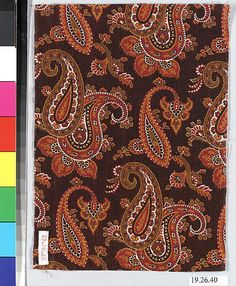 Sample Date: ca. 1840 Culture: French (Mulhouse) Medium: Cotton Dimensions: No dimensions recorded. Classification: Textiles-Printed Credit Line: Gift of F. Vintage Fabrics, Vintage Prints, Art Object, Surface Pattern, Textures Patterns, Paisley, Objects, Textiles, Shapes