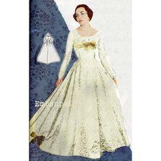 Vintage Sewing Pattern 1956 Wedding Dress PDF by EmbonpointVintage, $11.40