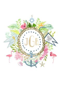 Hand Drawn Custom Floral Crest - Monogram, flower, anchor, island, beach, palm, flamingo, coral, seagrass, shell, rope, tropical, watercolor