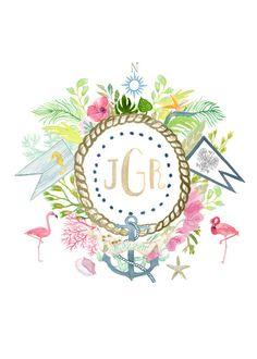 Hand Drawn Custom Floral Crest Monogram flower by SALTYDOGco