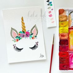 Your place to buy and sell all things handmade Watercolor Paper, Floral Watercolor, Unicorn Painting, Unicorn Rooms, Real Unicorn, Beautiful Unicorn, Unicorn Makeup, Rainbow Flowers, Hand Painted