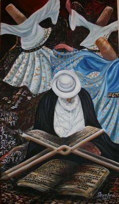 Neșe Ikbal Șen, Science and Dervish Tarot, Mystic Symbols, Whirling Dervish, Islamic Paintings, Gautama Buddha, Iranian Art, Turkish Art, Islamic Art Calligraphy, Spiritual Inspiration