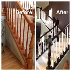 Honey oak stairs redo: General Finishes Java Gel Stain & painted spindles with Ben Moore paint #Generalfinishes User Project Showcase Jiving with Java