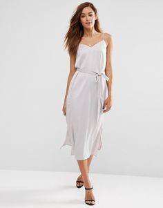 *OFF LIMITS - KARI'S PICK*  Color: grey. Image 1 ofASOS Midi Slip Dress in Satin with Tie Waist.