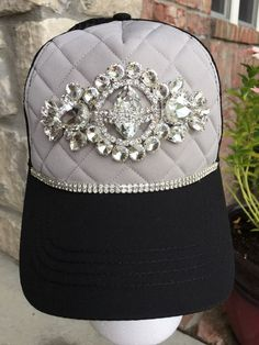 24425ac8b23 New Women s Black and Gray Trucker Hat Baseball Hat Cap Hat Bling