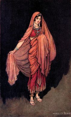 """Naila (frontispiece). """"Indian tales of the great ones"""" (1916) illustrated by Warwick Goble"""