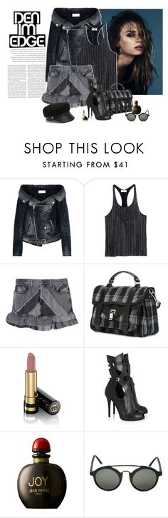 """""""Denim Edge"""" by katiethomas-2 ❤ liked on Polyvore featuring Topshop, Faith Connexion, Marc by Marc Jacobs, Proenza Schouler, Gucci, Alexander McQueen, Jean Patou, L.G.R and Eugenia Kim"""