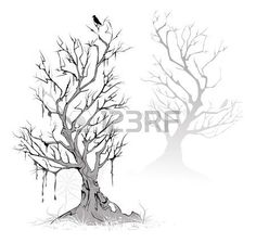 raven crow: Two artistic painted, dead, dried tree on a foggy, terrifying swamp