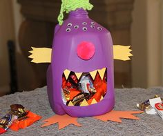 Create a milk jug monster for a full month of candy snatching fun!