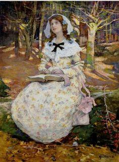 O livro aberto Elizabeth Adela Stanhope Forbes (Canadá, 1859-1912) aquarela, 61 x 43 cm