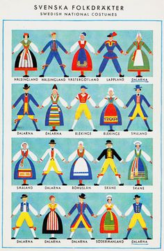 svenskafolkdrater - art poster with national costumes