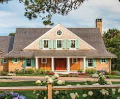 gray house turquoise shutters - Google Search