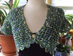 Hand Crocheted Shades Of Green Caprice Bolero