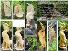 Botley Heron Carved from a conifer stump and standing over 6ft tall, this heron sits overlooking a lake in Botley near Southampton. thank you to Marcus Heys and his son Ben for the fantastic photos.   Rob Beckinsale Chainsaw Carving and Sculpture www.robb (Woodworking Carving)