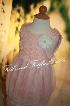 Dusty Rose/Blush Vintage Lace Flower Girl Dress, Rustic Flower Girl Dress, Great for Weddings, Special Occasions, Sizes 2t, 3t, 4t, 5t, 6 by FrillsandFireflies