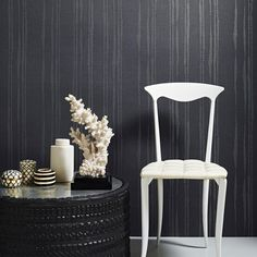 Laddered Stripe Midnight Wallpaper by Graham and Brown