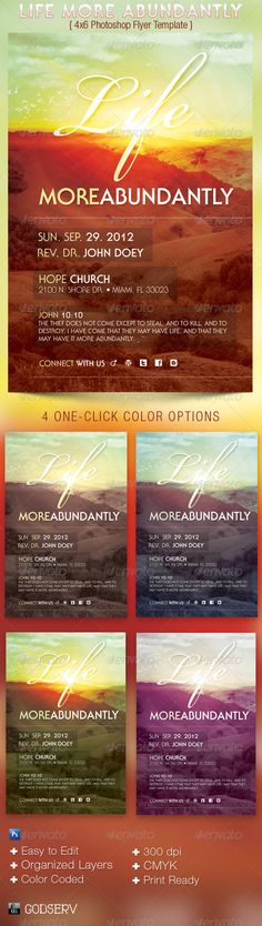Life More Abundantly Church Flyer Template — Photoshop PSD #faith #godserv • Available here → https://graphicriver.net/item/life-more-abundantly-church-flyer-template/2729465?ref=pxcr