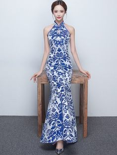 Blue Floral Halter Fishtail Qipao / Cheongsam Prom Dress