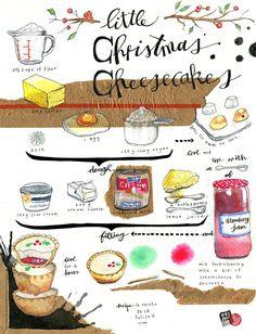 Illustrated recipe with collage, ink watercolour and guache. Recipe by La Receta de la Felicidad. Cartoon Recipe, Recipe Drawing, Food Sketch, Food Journal, Food Drawing, Dessert Recipes, Desserts, Vintage Recipes, Cakepops