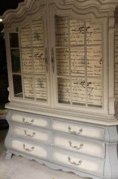 Annie Sloan painted (French Linen) and distressed and antiqued. Love this look of the armoire. Too bad there is not a website connected to this piece!!