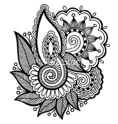 Black line art ornate flower lotus design collection vector by kara-kotsya on VectorStock®