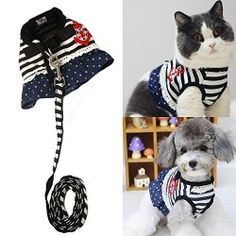 Bro'Bear Pet Sailor Dress Harness and Leash Set for Cats Small Dogs