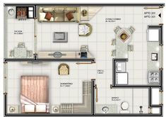 Studio Apartment Decorating, Interior Decorating, Plan Hotel, My House Plans, Tiny Apartments, Cabin Homes, Easy Home Decor, Home And Living, Small Spaces